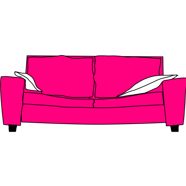 Pink Couch With Pillows PNG Clip art