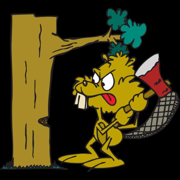 Beaver Cutting Down Tree PNG Clip art