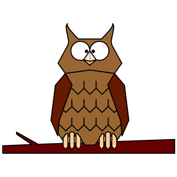 Cartoon Owl On Branch PNG Clip art