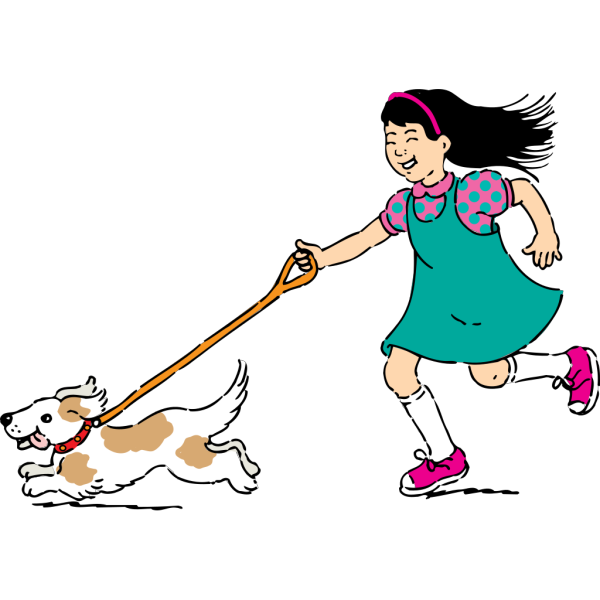 Girl Walking Dog PNG Clip art