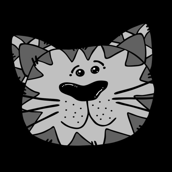 Gray And Black Cartoon Cat Face PNG Clip art
