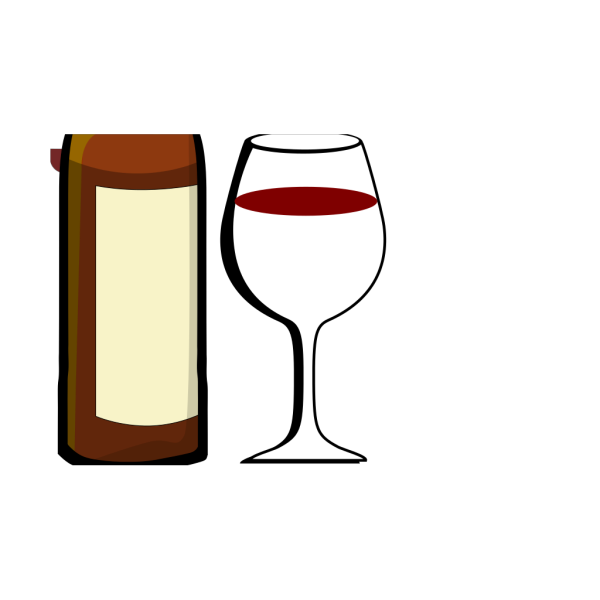 Glass Of Wine With Wine Bottle PNG Clip art