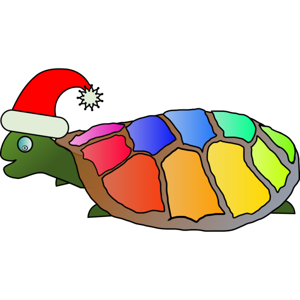 Holiday Rainbow Shell Turtle PNG Clip art