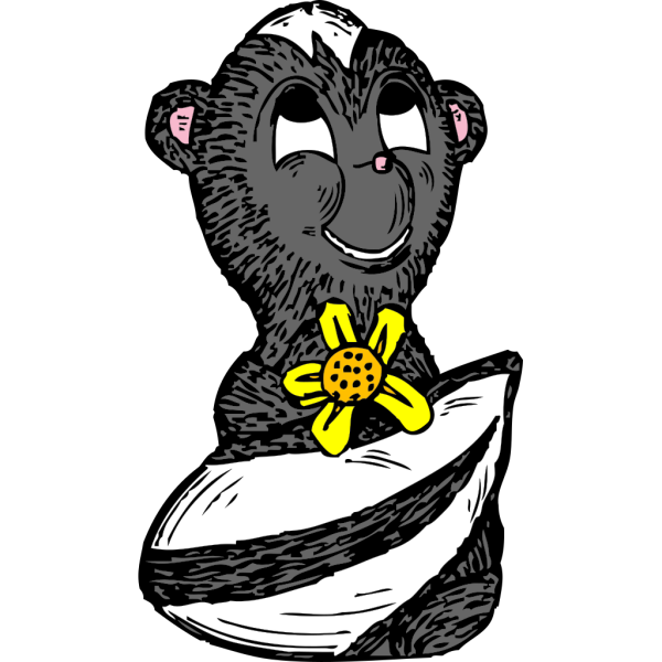 Skunk With A Flower PNG Clip art
