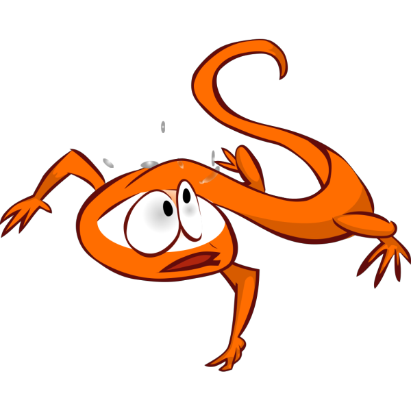 Orange Lizard Running Away PNG Clip art
