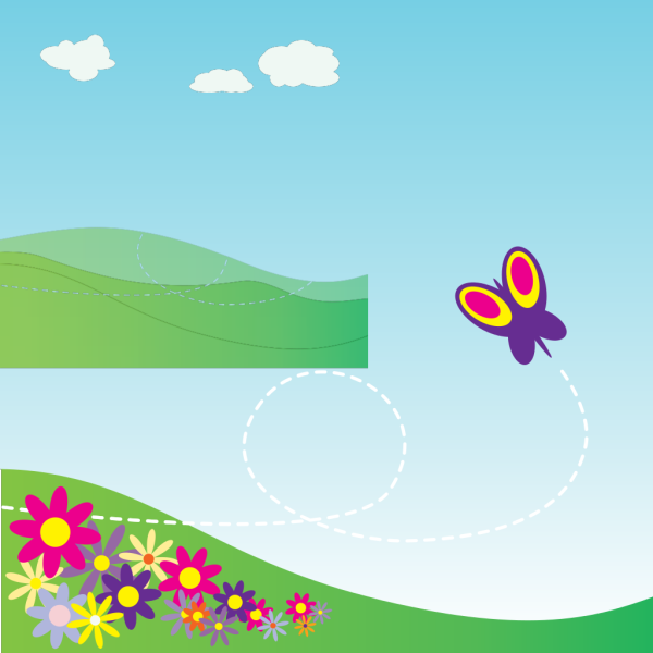 Cartoon Hillside With Butterfly And Flowers PNG Clip art
