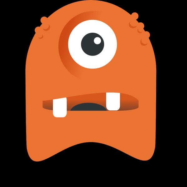 Orange One Eyed Monster PNG Clip art