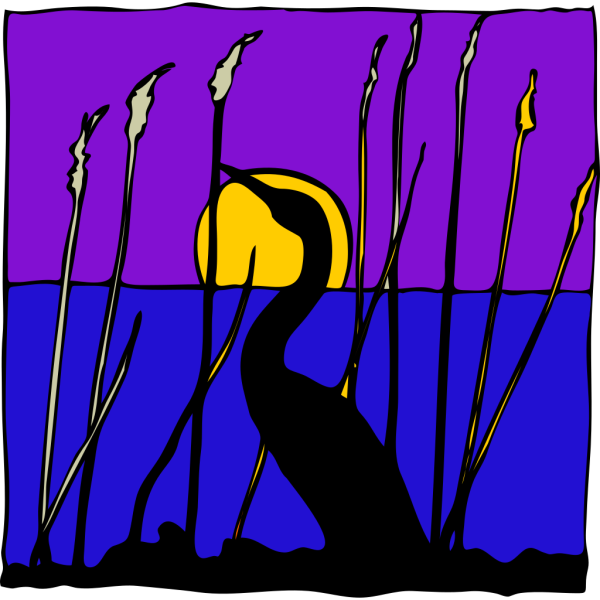 Swan Silhouette In The Moonlight PNG Clip art