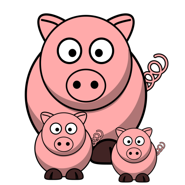 Momma Pig With Baby Pigs PNG Clip art