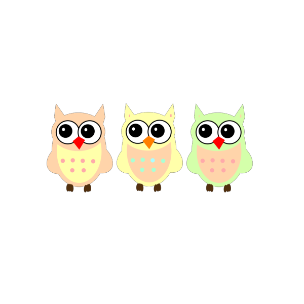 Pastel Owls PNG Clip art