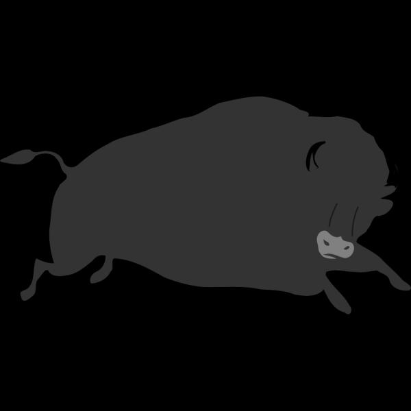 Jumping Black Bison PNG Clip art