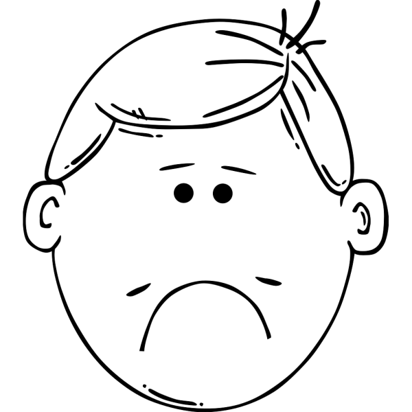 Sad Boy Outline PNG Clip art