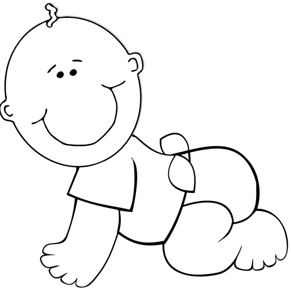 Crawling Baby Boy Outline PNG Clip art