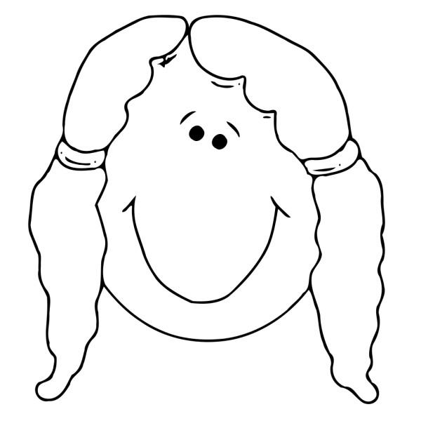 Girl Face With Pigtails Outline PNG Clip art