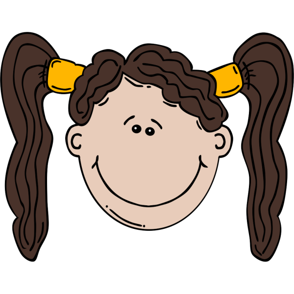 Girl Face Cartoon With Pigtail PNG Clip art