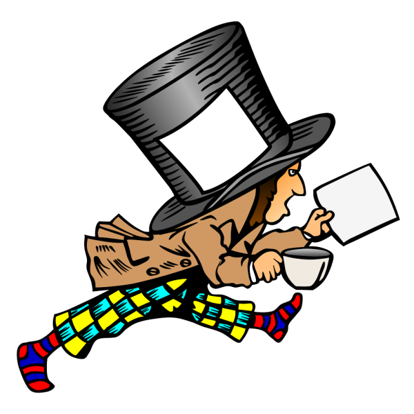 Mad Hatter With Blank Label And Blank Paper PNG icons