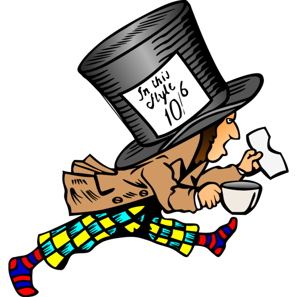 Running Mad Hatter With Label On Hat PNG image
