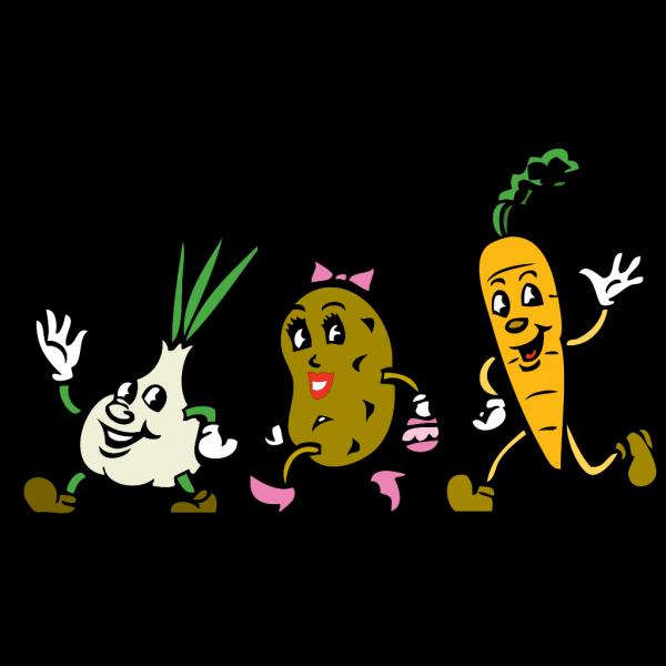 Running Vegetables In Color PNG Clip art