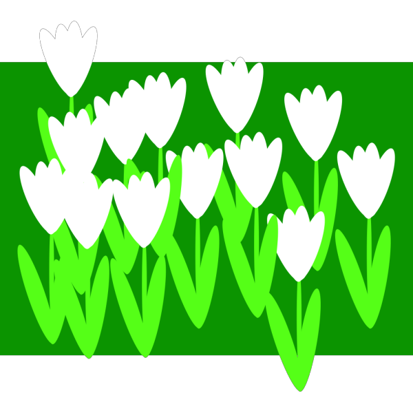 White Cartoon Tulips PNG Clip art