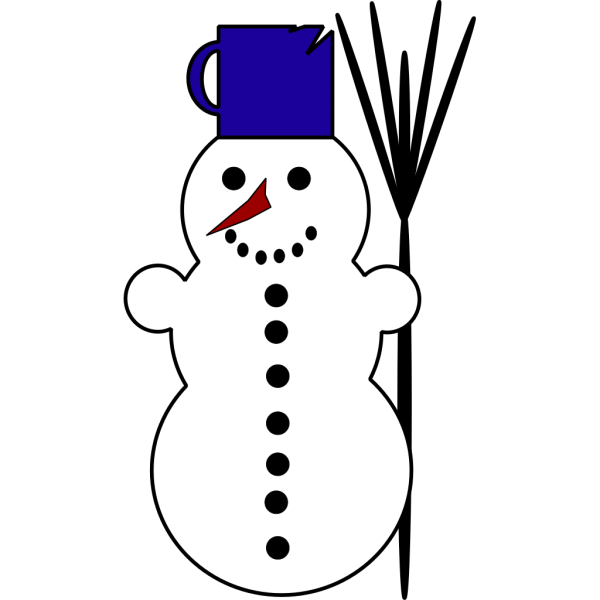 Cartoon Snowman With Chipped Cup Hat PNG Clip art