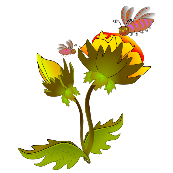 Bees And Flowers PNG Clip art