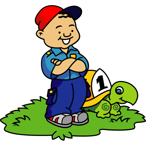 Cartoon Boy And Turtle PNG Clip art