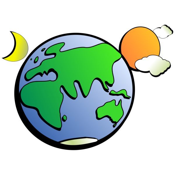 Cartoon Earth Sun And Moon PNG Clip art