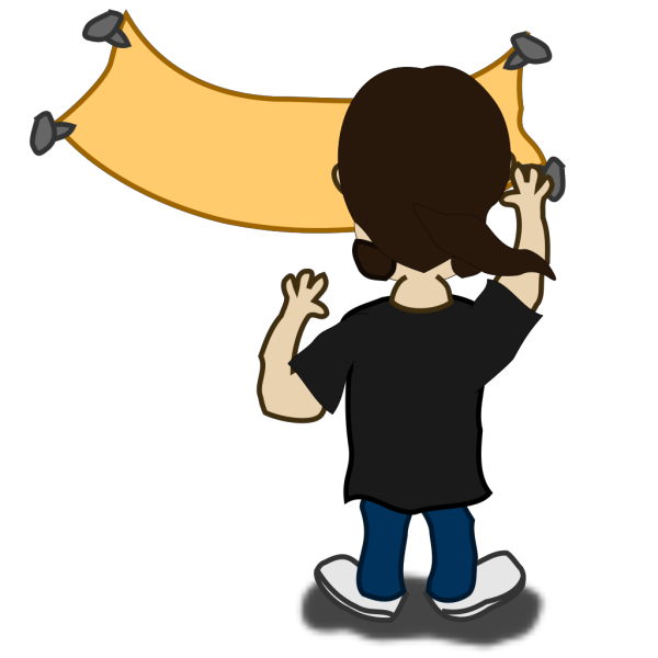 Comic Character Putting Up A Banner PNG Clip art