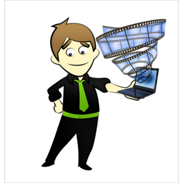 Comic Character With Laptop PNG Clip art