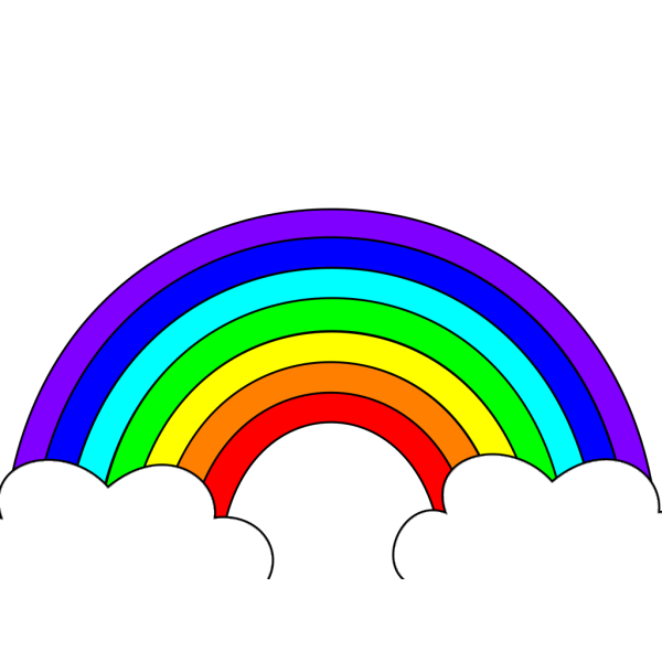 Rainbow With Clouds PNG Clip art