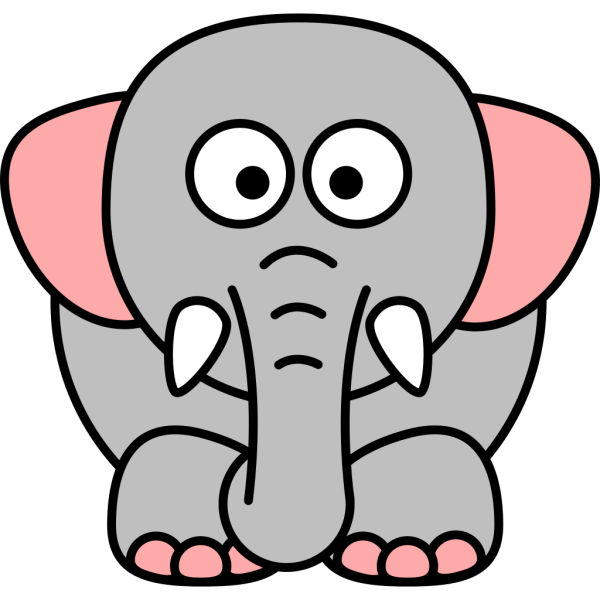 Cartoon Elephant Grey Pink PNG Clip art