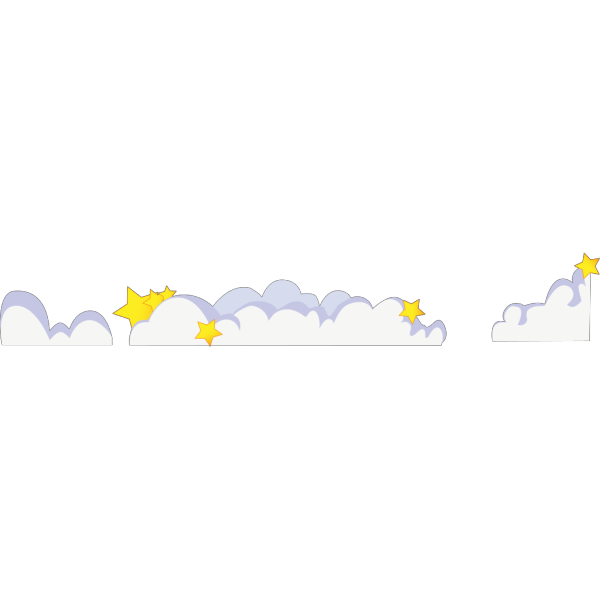 Cartoon Clouds With Stars PNG Clip art