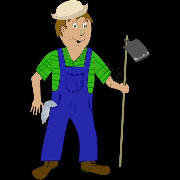 Cartoon Farmer With Hoe PNG Clip art