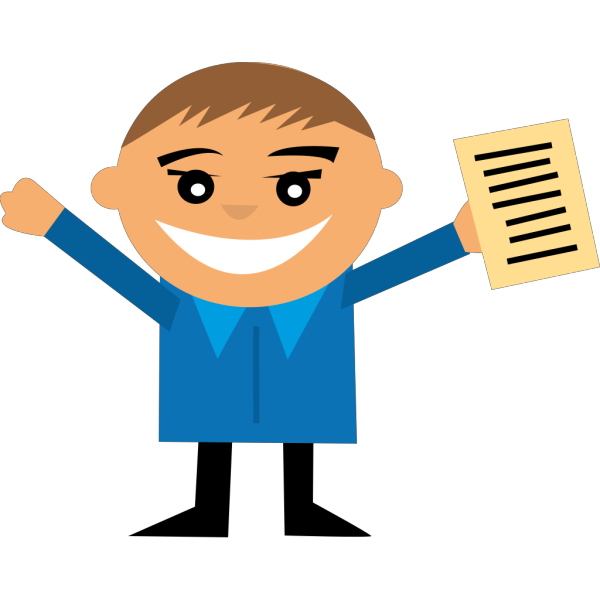 Happy Person With Paper PNG Clip art