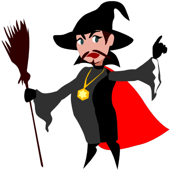Witch With Broomstick PNG Clip art