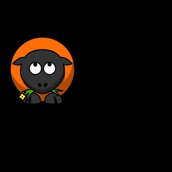 Orange Cartoon Sheep Looking Up PNG Clip art