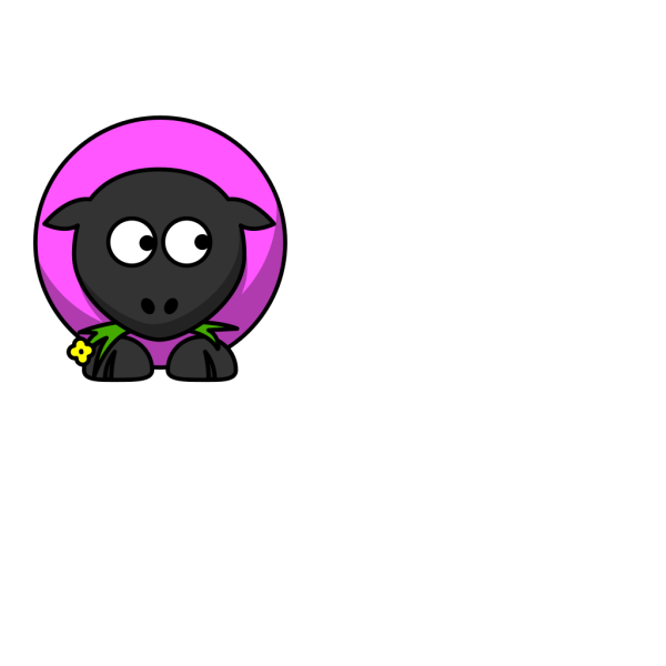 Pink Sheep Looking Down PNG Clip art