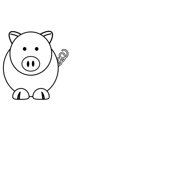 White Cartoon Pig PNG clipart