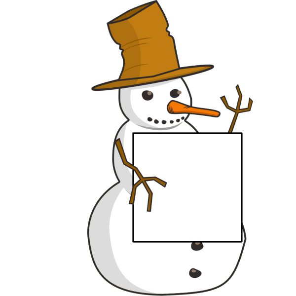 Snowman With Sign PNG Clip art