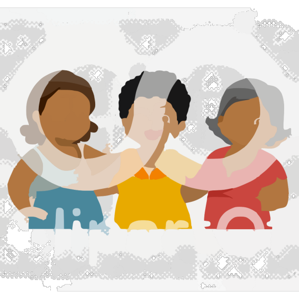 Cartoon Of A Group Of Diverse Middle Aged Female Friends Royalty Free Vector Clipart PNG Clip art