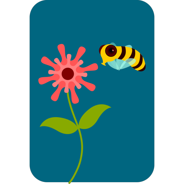 Cartoon Bee And Flower PNG Clip art