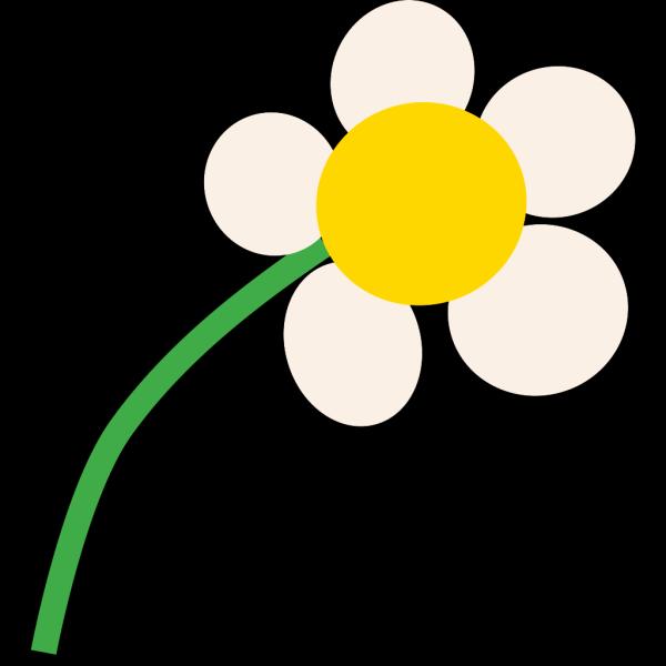 Simple White Cartoon Daisy PNG Clip art