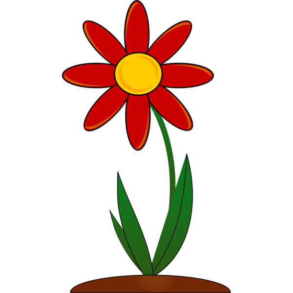 Planted Red Flower PNG Clip art