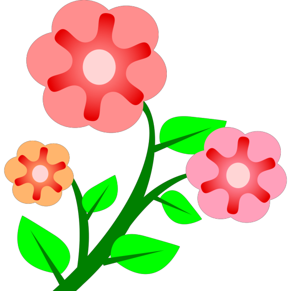 Three Basic Flowers PNG Clip art