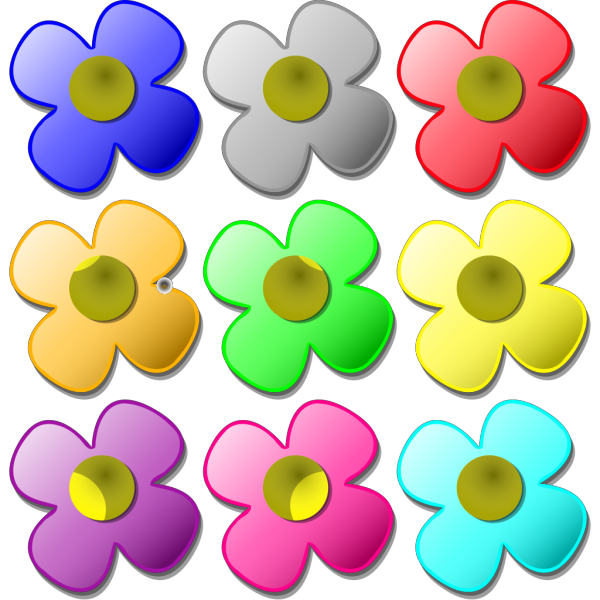 Colored Flowers PNG Clip art