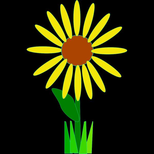 Sunflower With Grass PNG Clip art