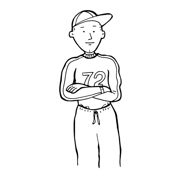 Sporty Boy Outline PNG Clip art