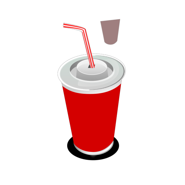 Soft Drink In A Cup (b And W) PNG Clip art