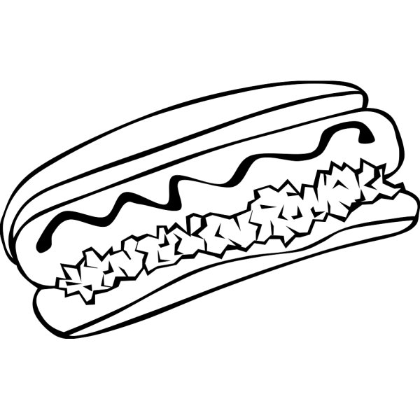 Hot Dog (b And W) PNG Clip art