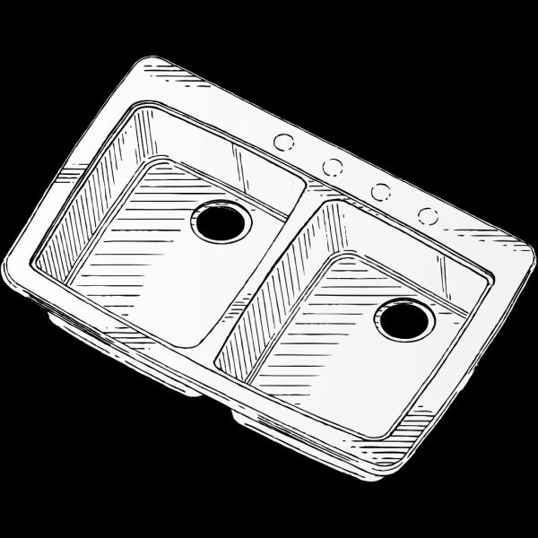 Steel Double Sink PNG Clip art